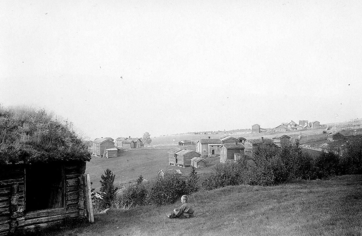 Grend med gårdsbruk i klynger, ukjent sted. Gutt sitter på bakken i forgrunnen utenfor laftet uthus. Åpent terreng. Serie tatt av Robert Collett (1842-1913), amatørfotograf og professor i zoologi.