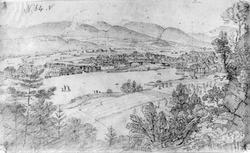 """SkienFra skissealbum av John W. Edy, """"Drawings Norway 1800"""""""
