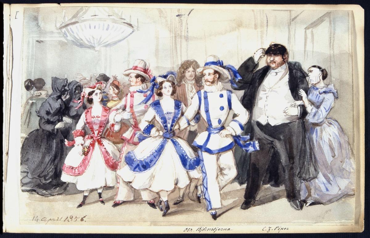 Maskeradbal 14 april 1856. Oscar Björnsjerna och C F Piper bland övriga gäster. Akvarell av Fritz von Dardel.