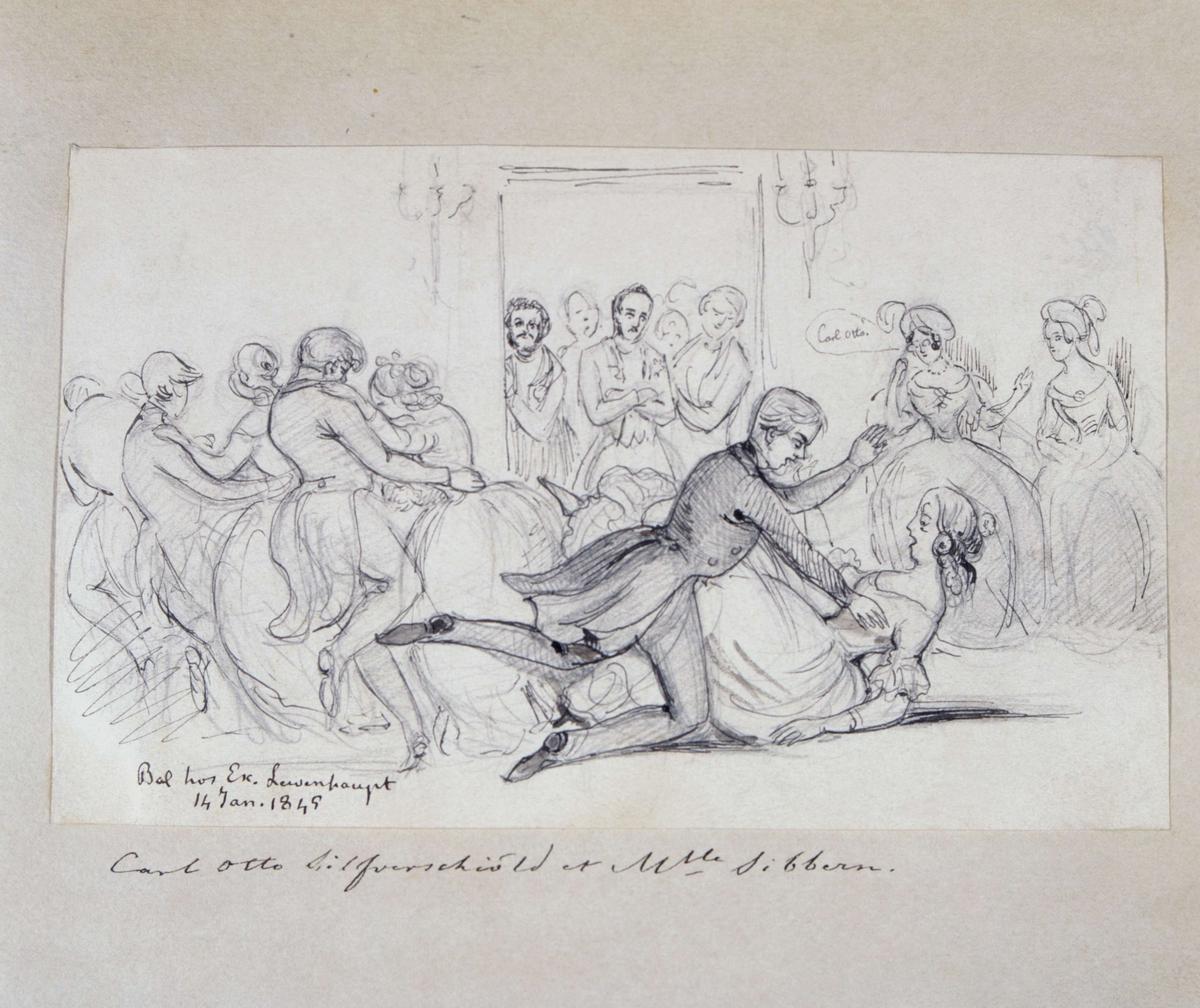 """""""Bal hos Exc. Lewenhaupt 14 jan. 1849. Carl Otto Silverschiöld et Mlle Sibbern."""" Tuschteckning av Fritz von Dardel."""