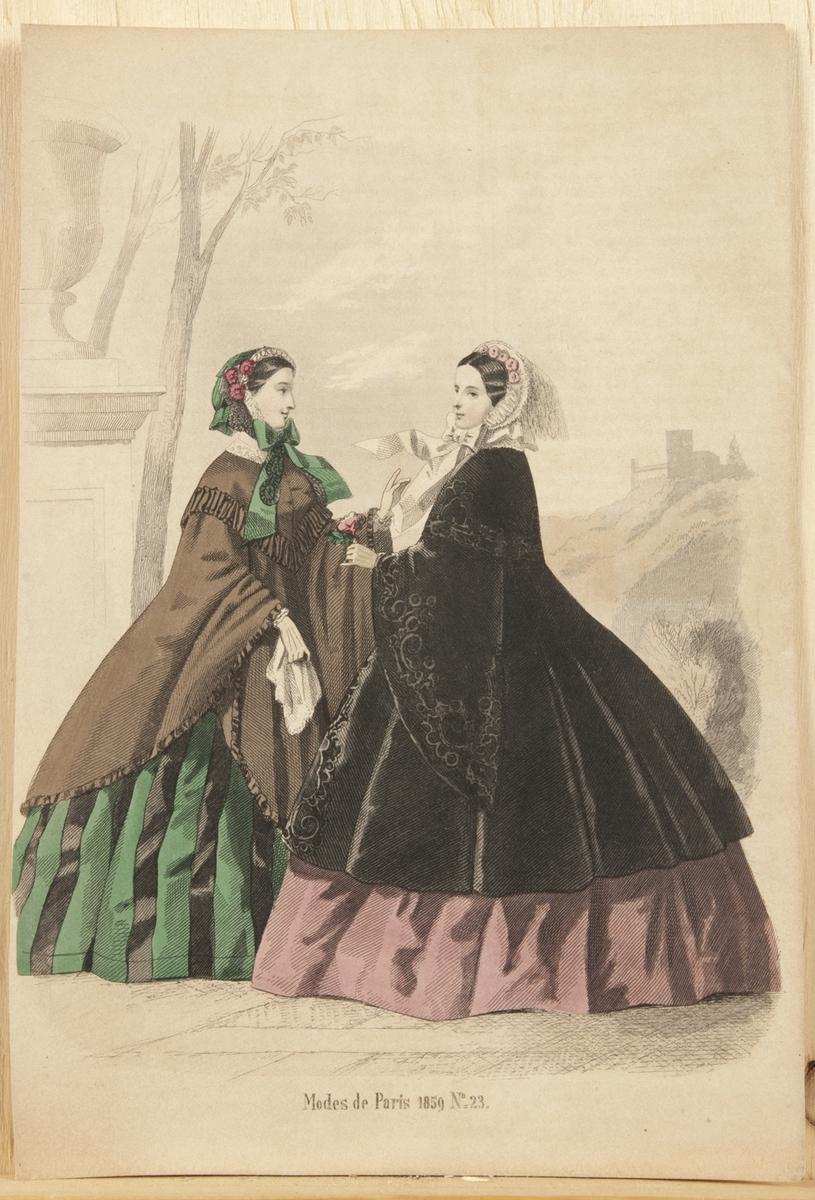 Kvinnor i modedräkt, klänning, jacka och huvudbonad, 1859