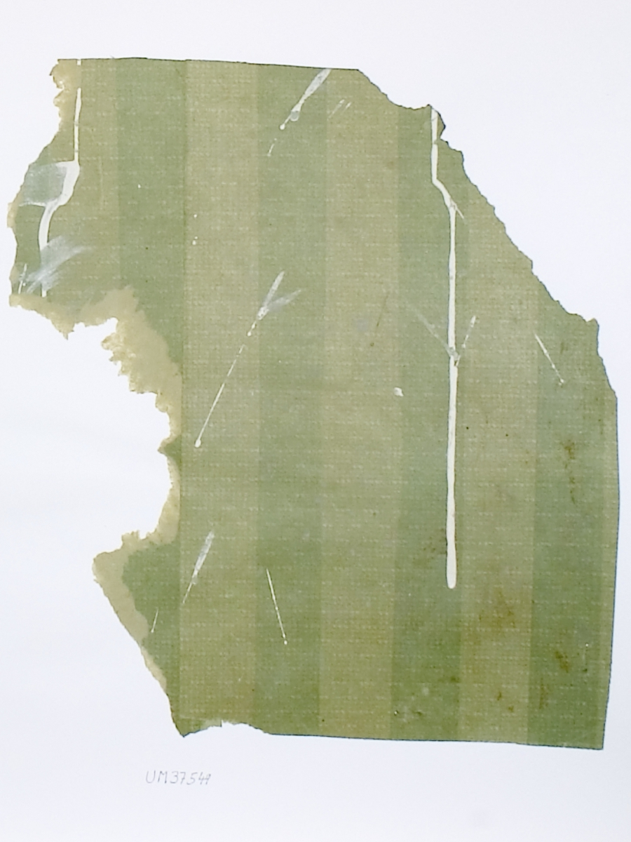 Tapetprov med tryckt mönster, grönt i två olika nyanser. Handskriven text på baksidan av kartongen: Nr 47 Tegelsmora prästgård Tegelsmora s:n Uppland rum 3 (förstugan) n.b. 1.
