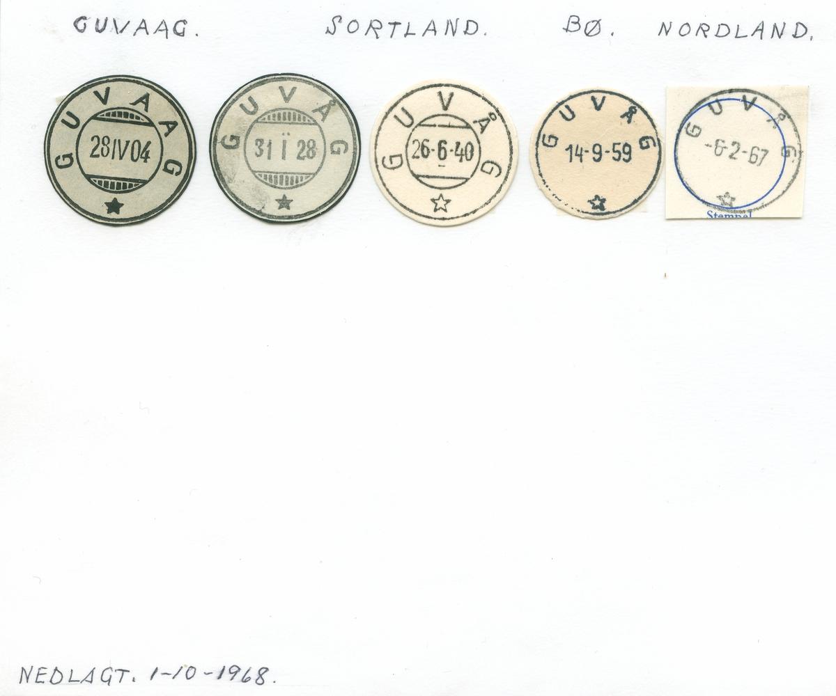 Stempelkatalog Guvåg (Guvaag), Sortland, Bø, Nordland