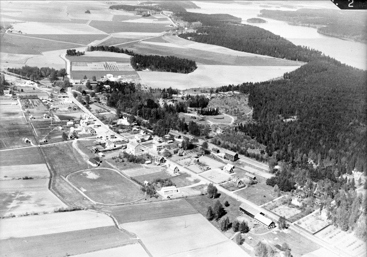 Flygfoto över Bålsta och Lilla Ullfjärden, Yttergrans socken, Uppland 1936