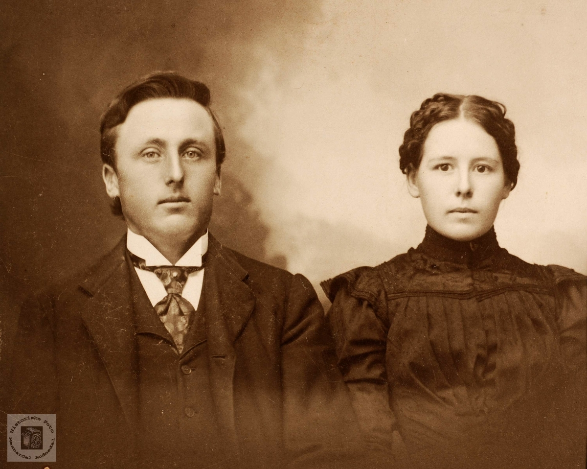 Ekteparet Anders Haaland fra Grindheim med kona si (ukjent navn).