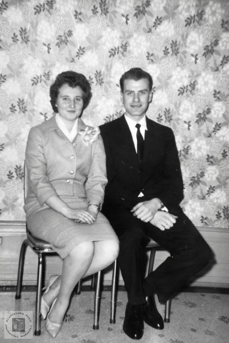 Bryllupsbilde i Amerika til Jenny og Kjell Håland, Grindheim Audnedal.