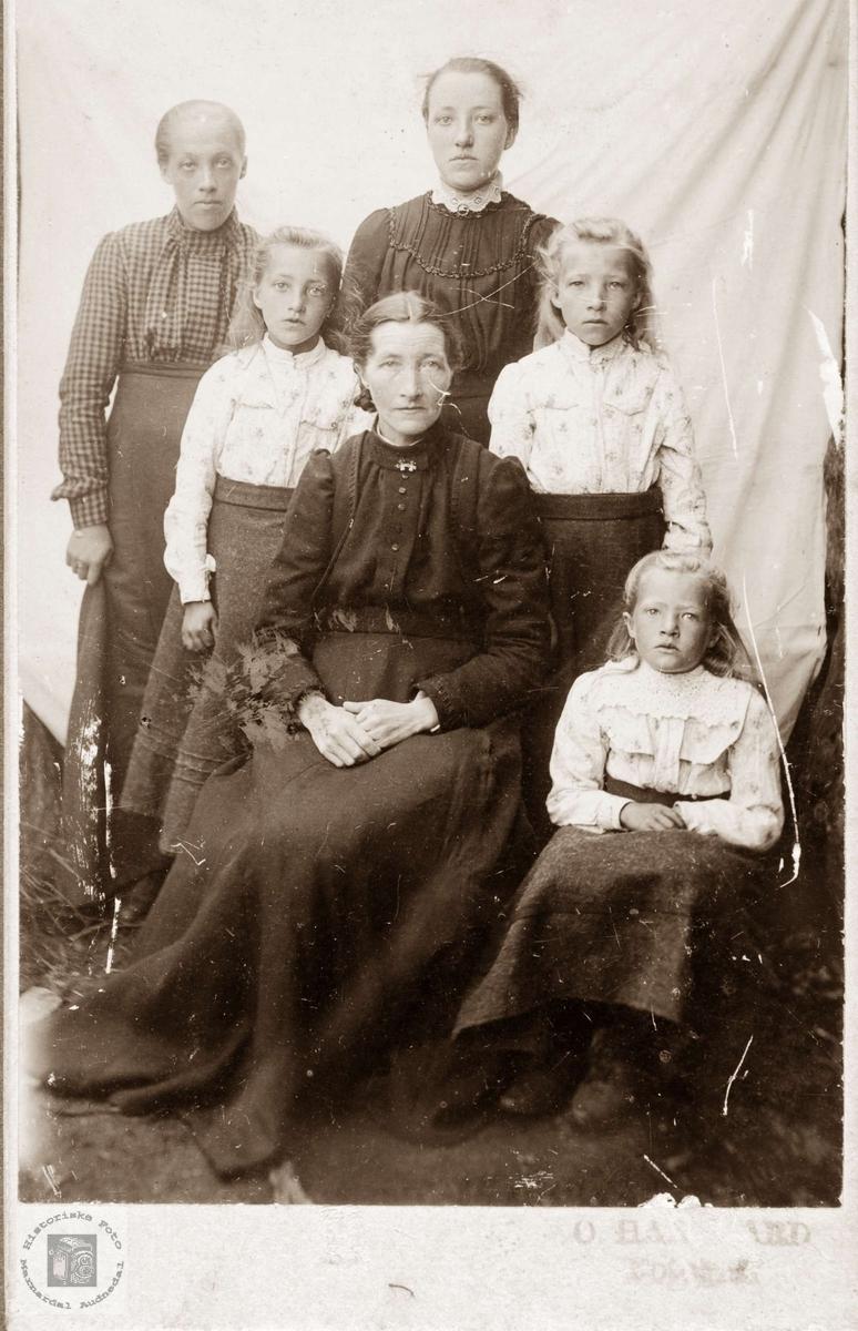 "Damer i 4 generasjoner muligens fra ""Der veste"" på Sveindal. Grindheim Audnedal."