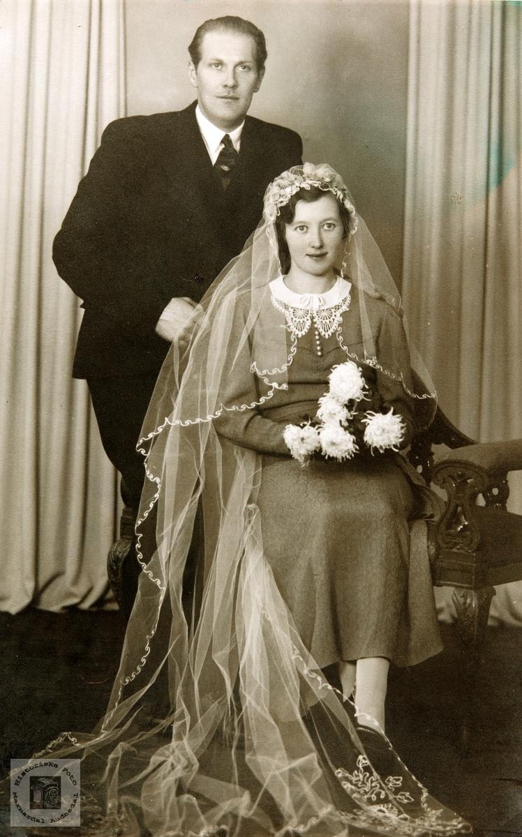 Brudeparet Margith og Thorvald Konsmo. Audnedal.