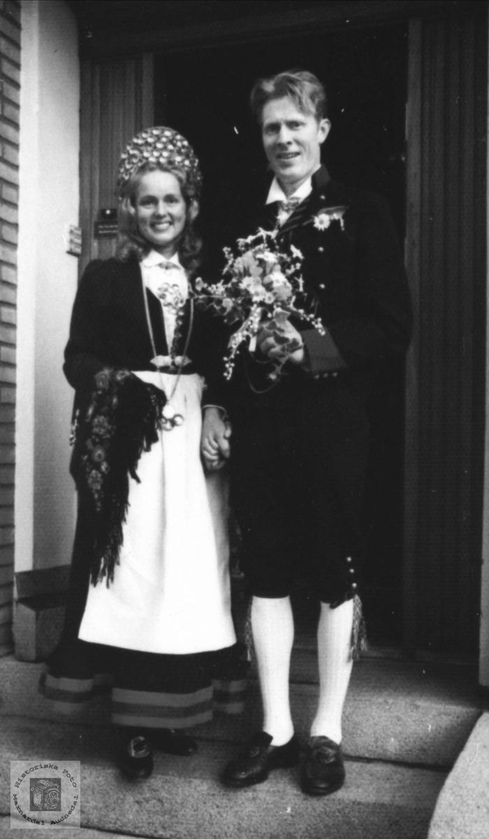 Brudebilde av Katrine og Knut Homme. Bjelland.
