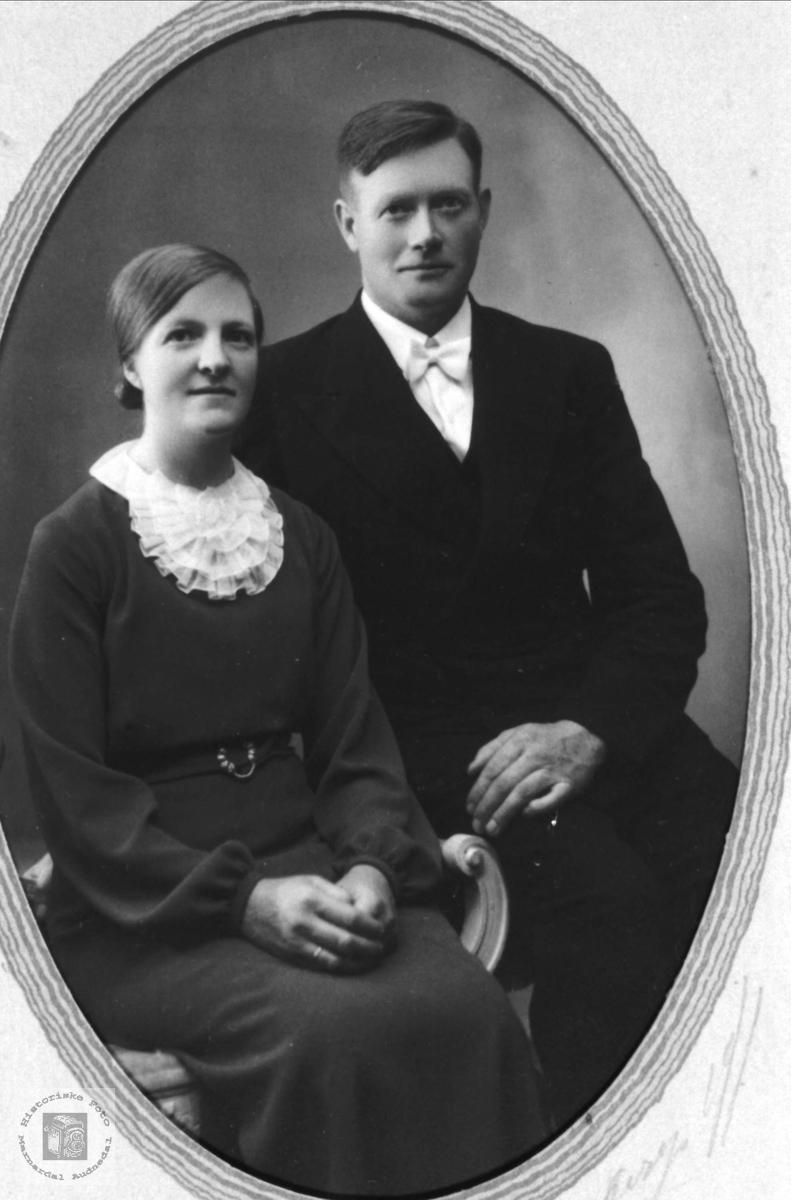 Bryllupsbilde Anlaug og Bjørn Tjomsland.
