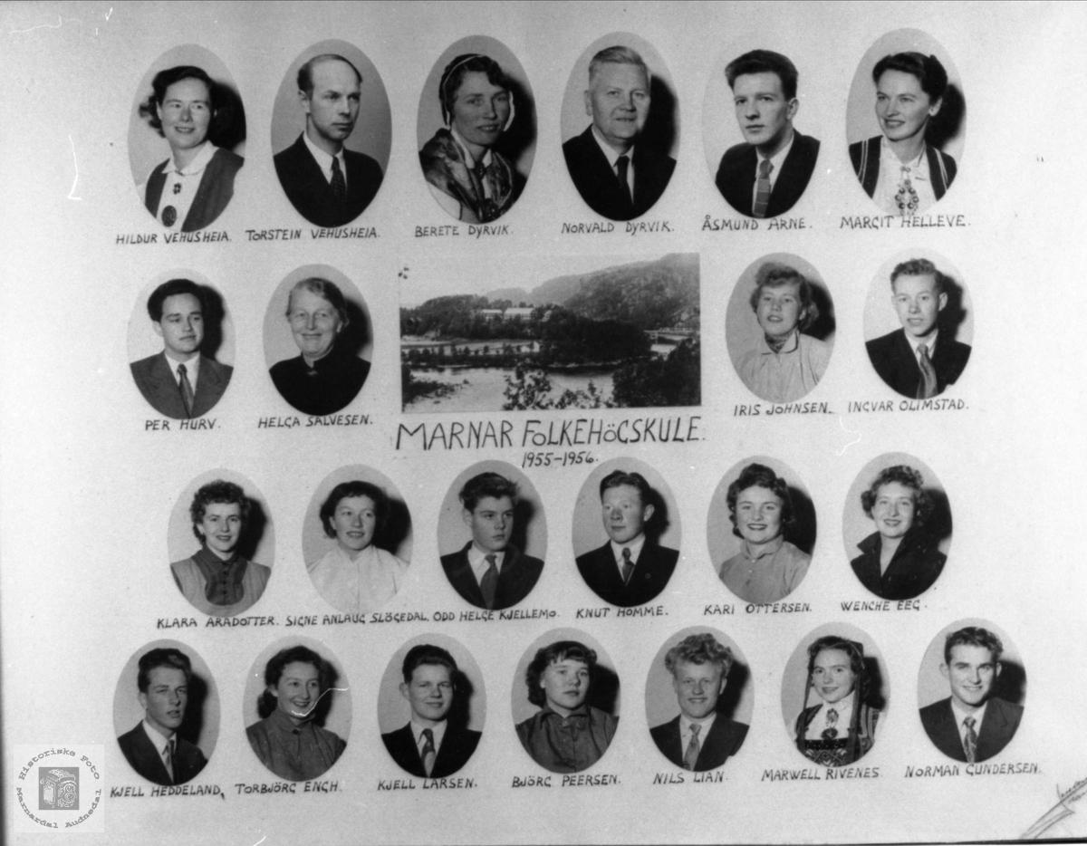 Marnar Folkehøgskole 1955-1956. Øyslebø