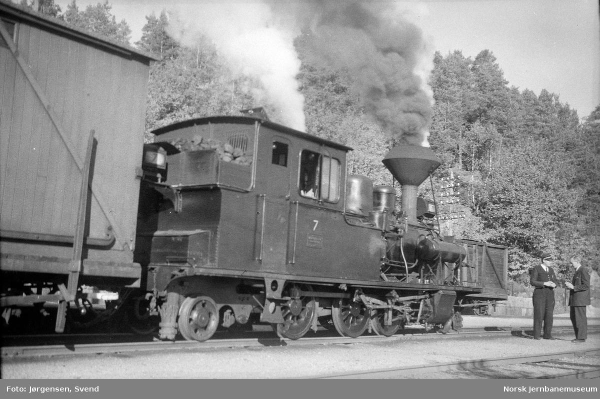 Damplokomotiv nr. 7 med godstog 5661 på Hægeland stasjon