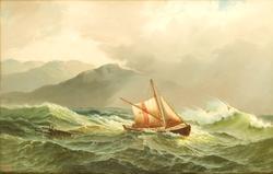 Losbåt i høy sjø [Oljemaleri]
