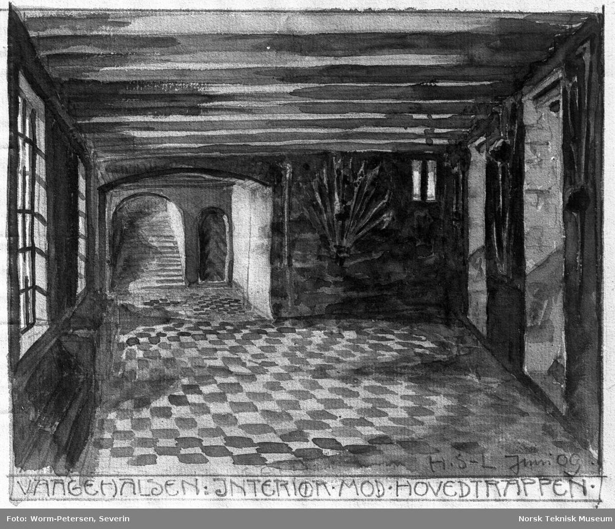 Akvarell, Akerhus festning; Vågehalsen, interiør mot hovedtrappen