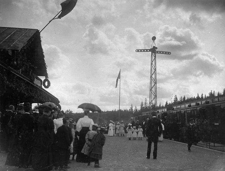 """""""Kung Oscar II vid invigningen av Lelångenbanan 31 juli 1895. Bengtsforsstationen"""""""
