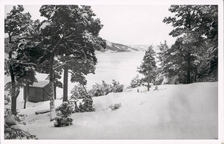 """Noterat på kortet: """"Stillingsön."""" """"Uts. fr. fam. Hedvalls villa """"Hindsbo"""" sso. över fjorden. Vintern 57."""""""