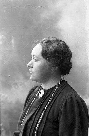 """Enligt fotografens journal nr 1 1904-1908: """"Åhman, Fr. Hedvig Lerum""""."""