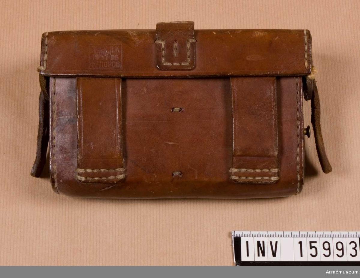 Grupp E V. Patronväska av läder, tillverkad 1926, Ryssland.