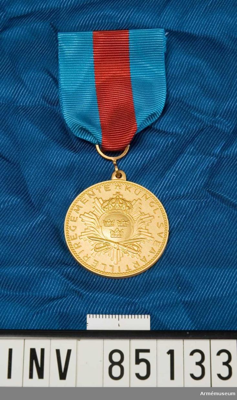Medaljen är rund. Lilla riksvapnet ovanför två korsade sablar och överlagt ett strålknippe. Band kluvet i blått, rött och blått. Medaljen förvars i ask tillsammans med en miniatymedalj.