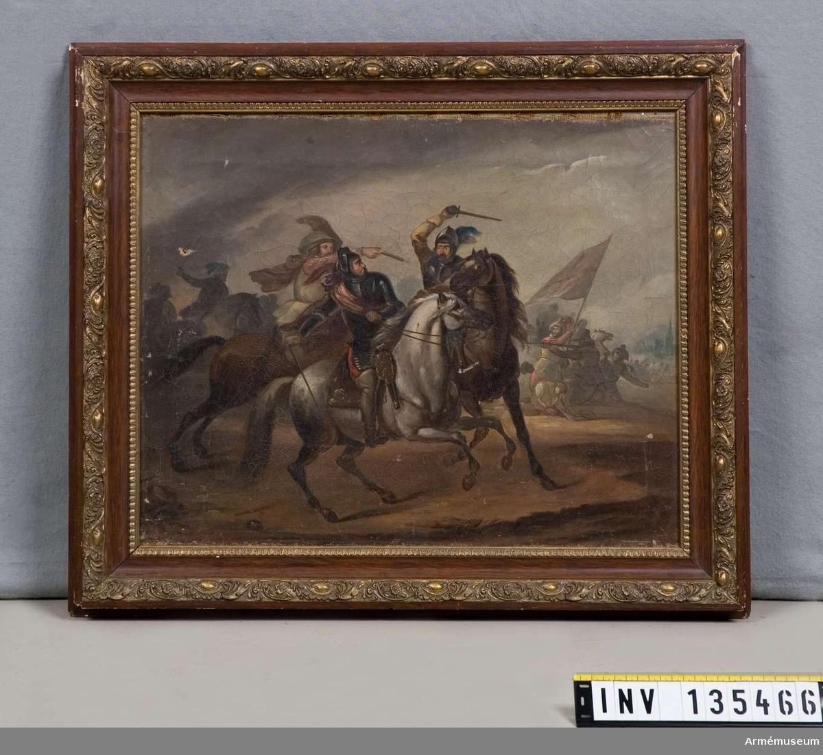"""Oljemålning föreställande Gustaf II Adolf som räddas av Soop. På ramens baksida står skrivet: """"8,50 kr hos A. M. Sjöberg den 15.1 1892""""."""