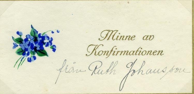 Text på kortet: Minne av Konfirmationen från Ruth Johansson.
