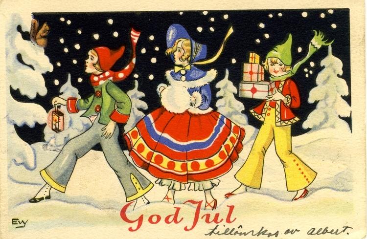 Sänt kort med God Jul-hälsning