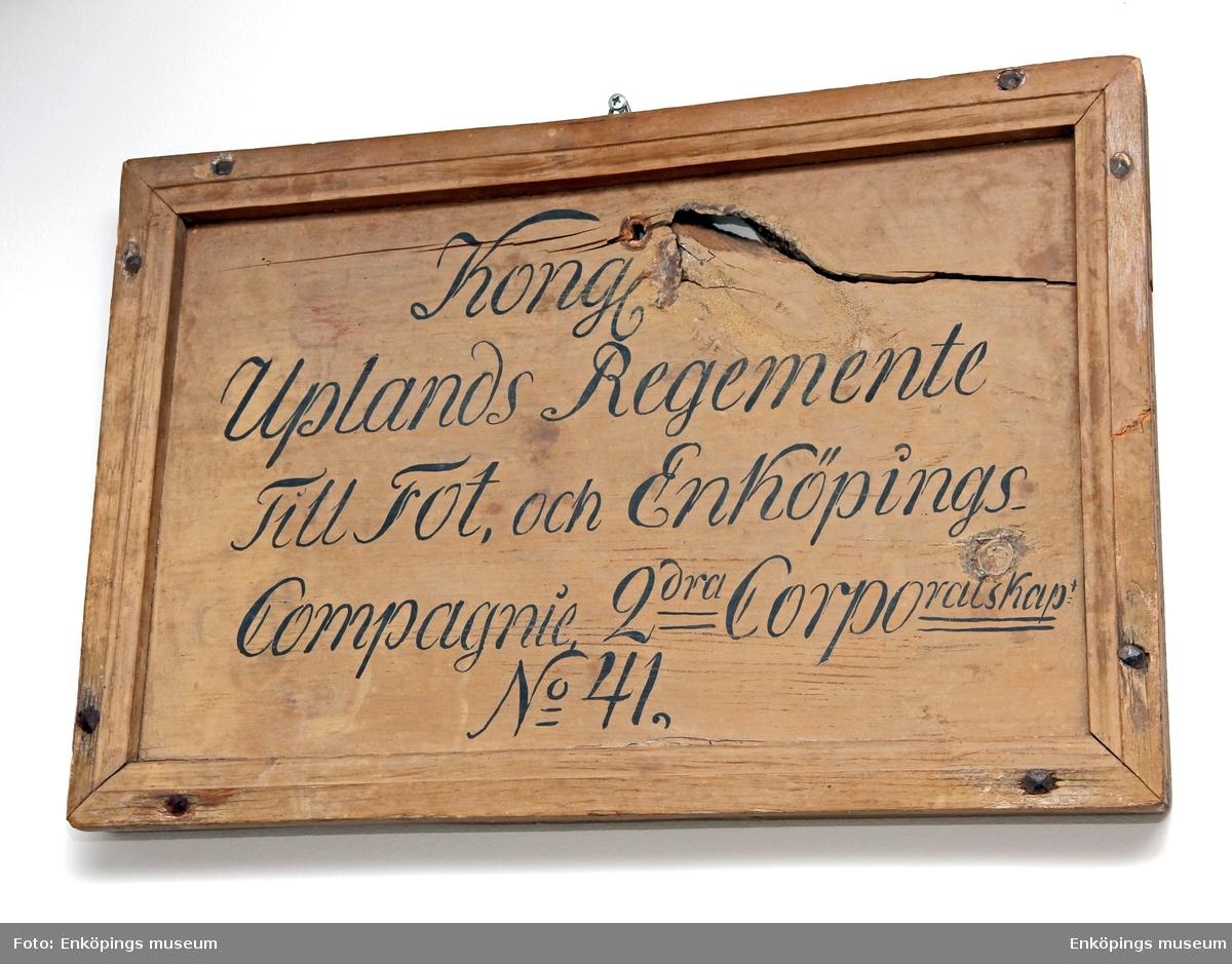 Nummertavla för Kongl Uplands Regemente Till Fot, och Enköpings Compagnie 2dra Corpralskap No 41.