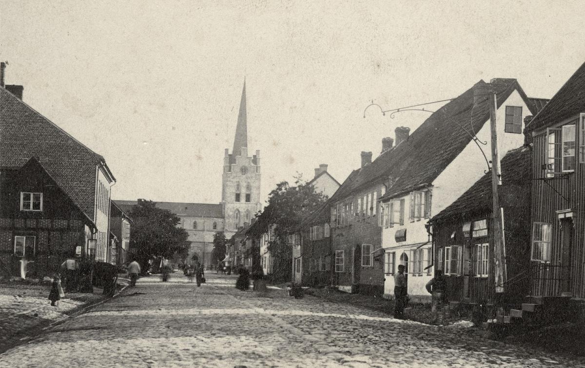 Halmstad, Köpmansgatan. Köpmansgatan, 1870-talets början. Fotograf Selma Angel.
