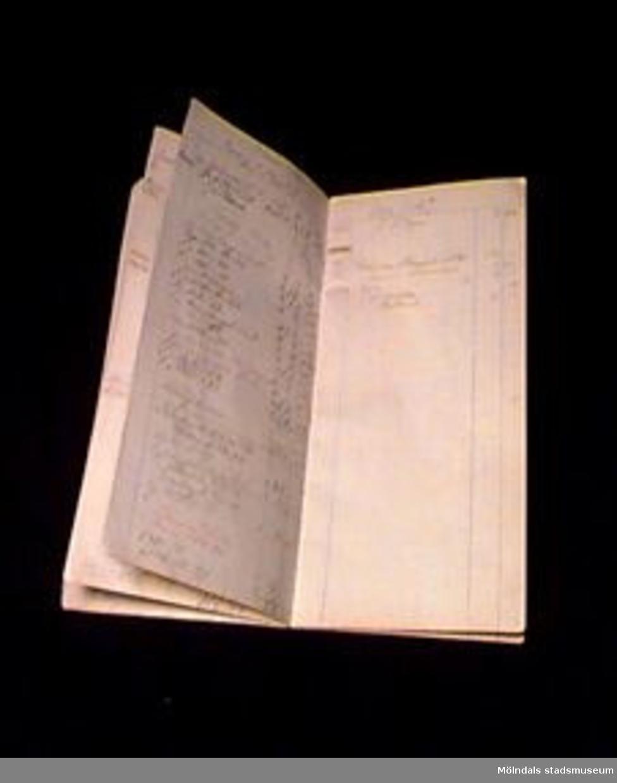 Kassabok som användes för daglig bokföring i Veramagasinet. Boken är av rutat, gulnat papper och saknar pärmar. Blyertshandskrift. Första anteckningen är från 1924-09-06. På sista sidan finns dels anteckningar från 1925-01-17, dels en lager- och kassaavstämning undertecknad av O. Hansson. Något trasig. Veramagasinet var manufaktur och skoaffär och ägdes av Elsa och Olof Hansson, givarens svärföräldrar. De hade affären från 1924 och framåt.Elsie Hansson är född 1927 och bodde t.o.m mars 1975 på Broslättsgatan 19. Huset byggdes 1921. Samma år föddes Elsies make Lars. Elsie träffade maken 1944. Hon arbetade hos tandläkare Olof Sjöberg 1945-1952, då hennes son föddes. Hon var tandsköterska, började som elev.