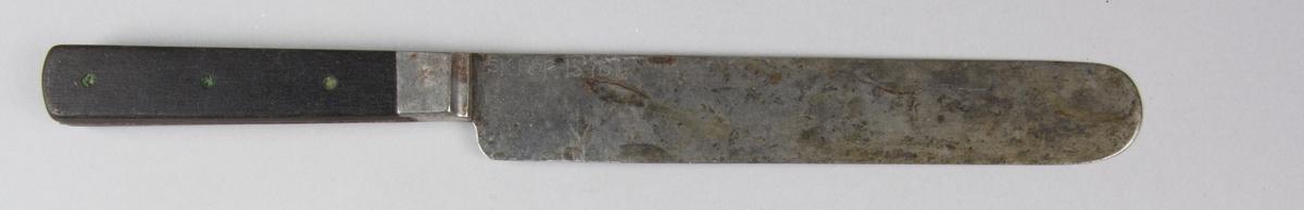 Bordskniv. Blad och tånge gjutet i stål. Handtag av svärtat trä, fastsatt med nitar av mässing. Rakt blad.