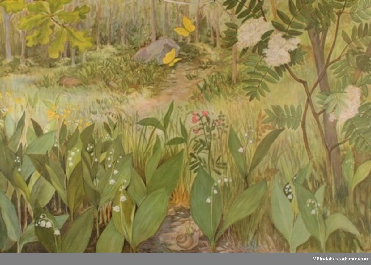 """Biologi.Liljekonvaljbacken ingår i serien """"Träd och blommor"""" av G. Rissler.På baksidan: Liljekonvalj och rönn, botaniska tavlor av Gerd Rissler.EhlinsAB Litoprint Stockholm."""