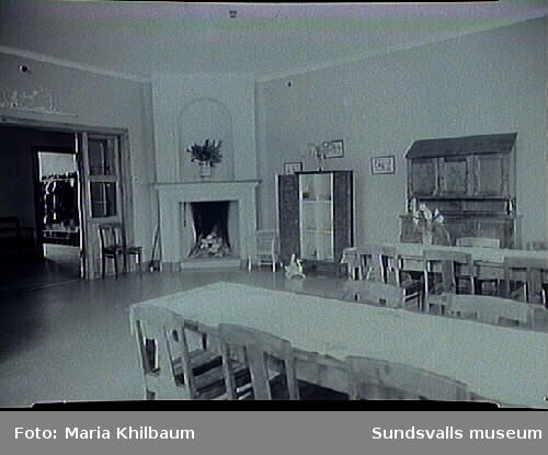 Interiör från Länssanatoriet. Matsal, samlingsrum.