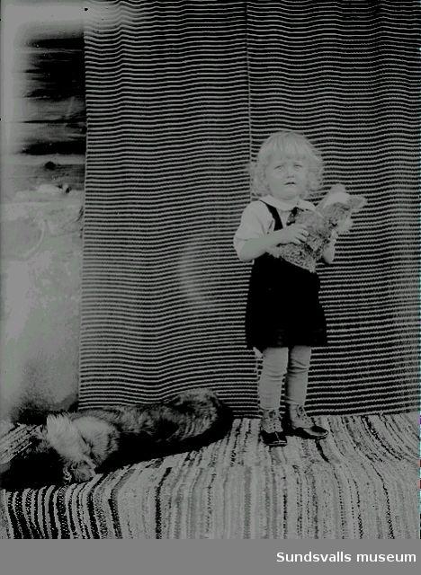 Porträtt, barn och en hund.