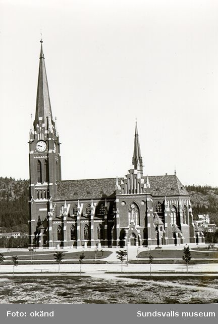 Exteriör av Gustav Adolfs kyrka. Kyrkan invigdes 1894, ritad av Gustaf Hermansson.