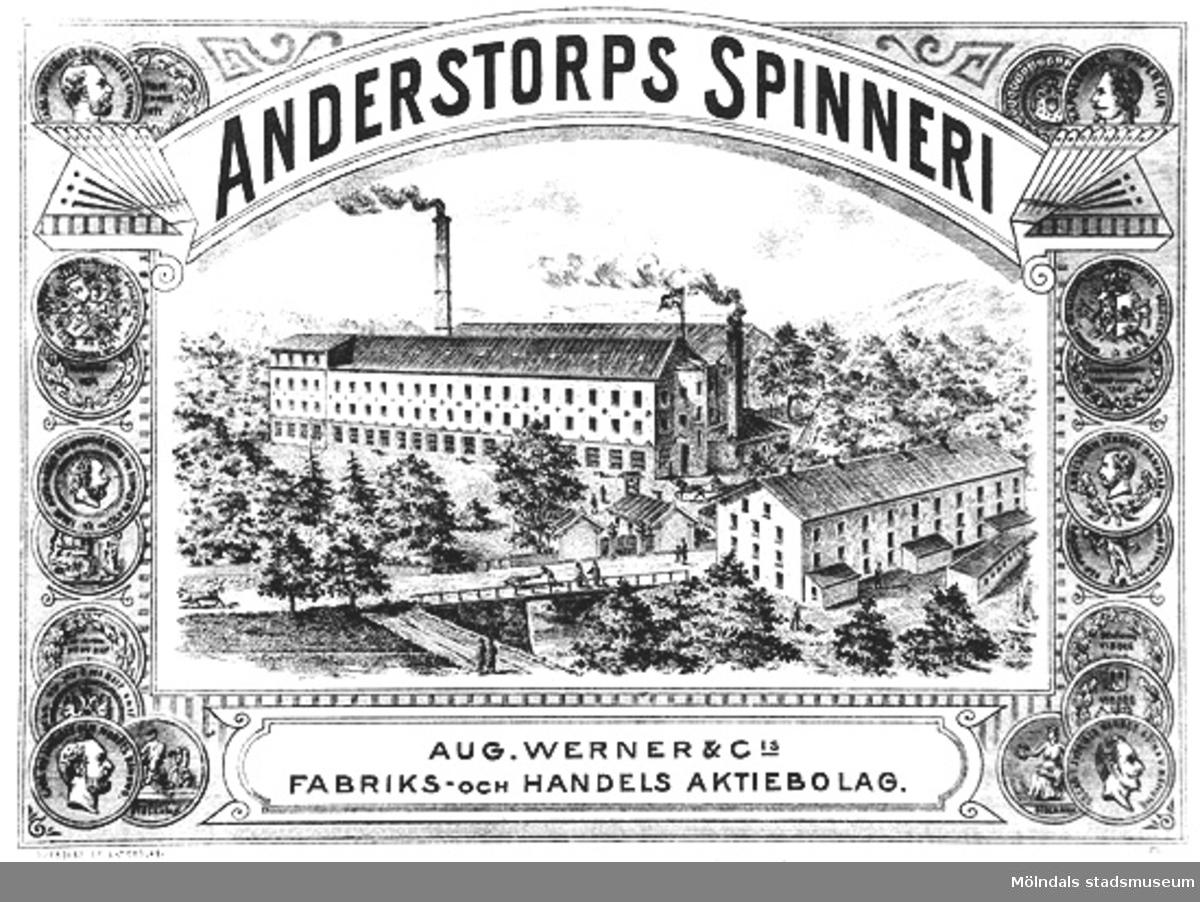 """Etikett med teckning av gamla fabriken (ca 1830-tal). Text på etiketten: """"Anderstorps spinneri, Aug. Werner & Cis Fabriks- och Handelsaktiebolag""""."""