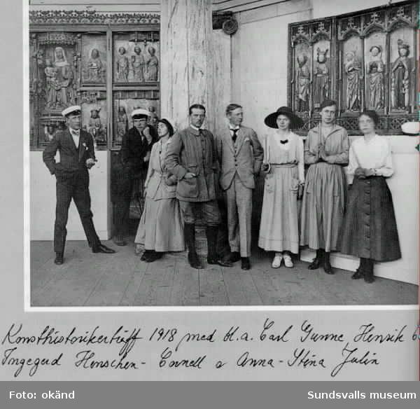 Konsthistorikerträff 1918 med bl a Carl Gunne, Henrik Cornell, Ingegerd Henschen-Cornell och Anna-Stina Julin