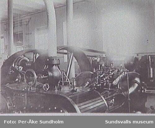 Ångmaskin med generator och transmission,elektricitetsverket, 1901.