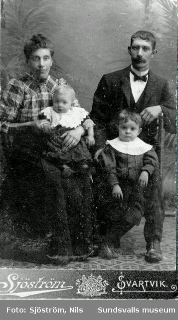 Valfrid Stenqvist och hans hustru Emma og. Olsson med barn.