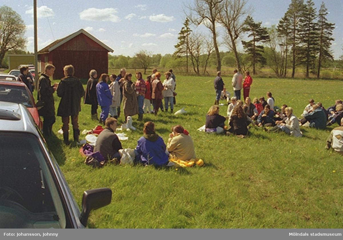Personal från Kultur och fritid sitter eller står på en gräsmatta. I bakgrunden ligger ett rött litet hus.