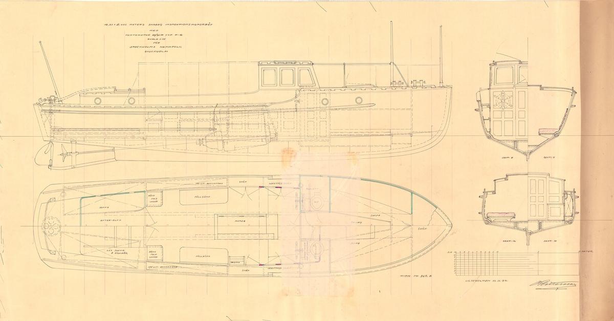 Snabbgående inspektionsbåt. Inredningsritning i profil, plan och sektioner