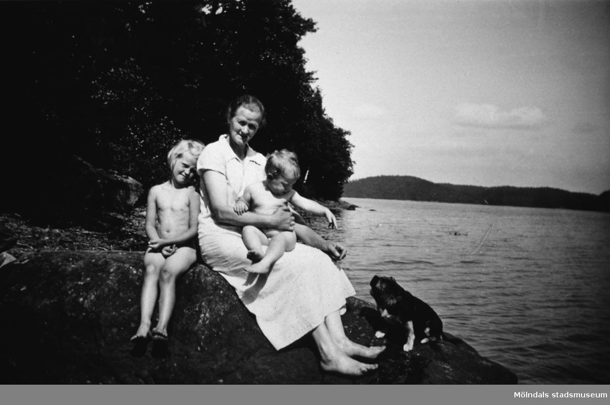 En kvinna med två barn och en hund sitter på en klippa ev. vid Tulebosjön, cirka 1930.