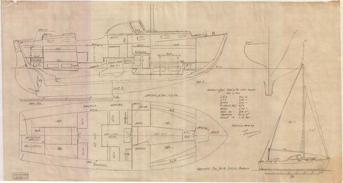 Inredningsritning i plan och profil, segelritning.