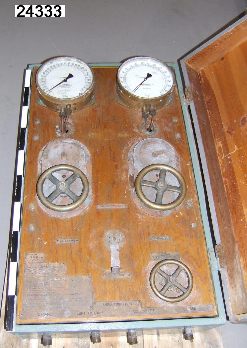 """Dykartavla nr 34 vid Örlogsvarvet i Karlskrona 1957. Instrumenttavlan sitter på träplatta fäst i en turkos låda av trä. På respektive sida sitter två handtag. På tavlan sitter överst två manometrar (en för varje dykare), de har vit visartavla med texten """"DJUPMÄTARE"""", den vänstra graderad 0-150 meter, den högra graderad 0-180 meter. Tavlorna har en ställbar visare. Under respektive manometer sitter regleringsventiler manövrerade av rattar med graderade visare och ett stängningsläge. Under sitter en manöverspak för val av en eller två dykare, nödavstängning eller stängning. Intill sitter stansade instruktionstavlor av metall. På undersidan sitter ventiler för koppling av luftslangar till dykarna samt för reservluft och luft 7 kg/cm2. Dykartavlan har ett gråmålat trälock, fastsatt med gångjärn."""