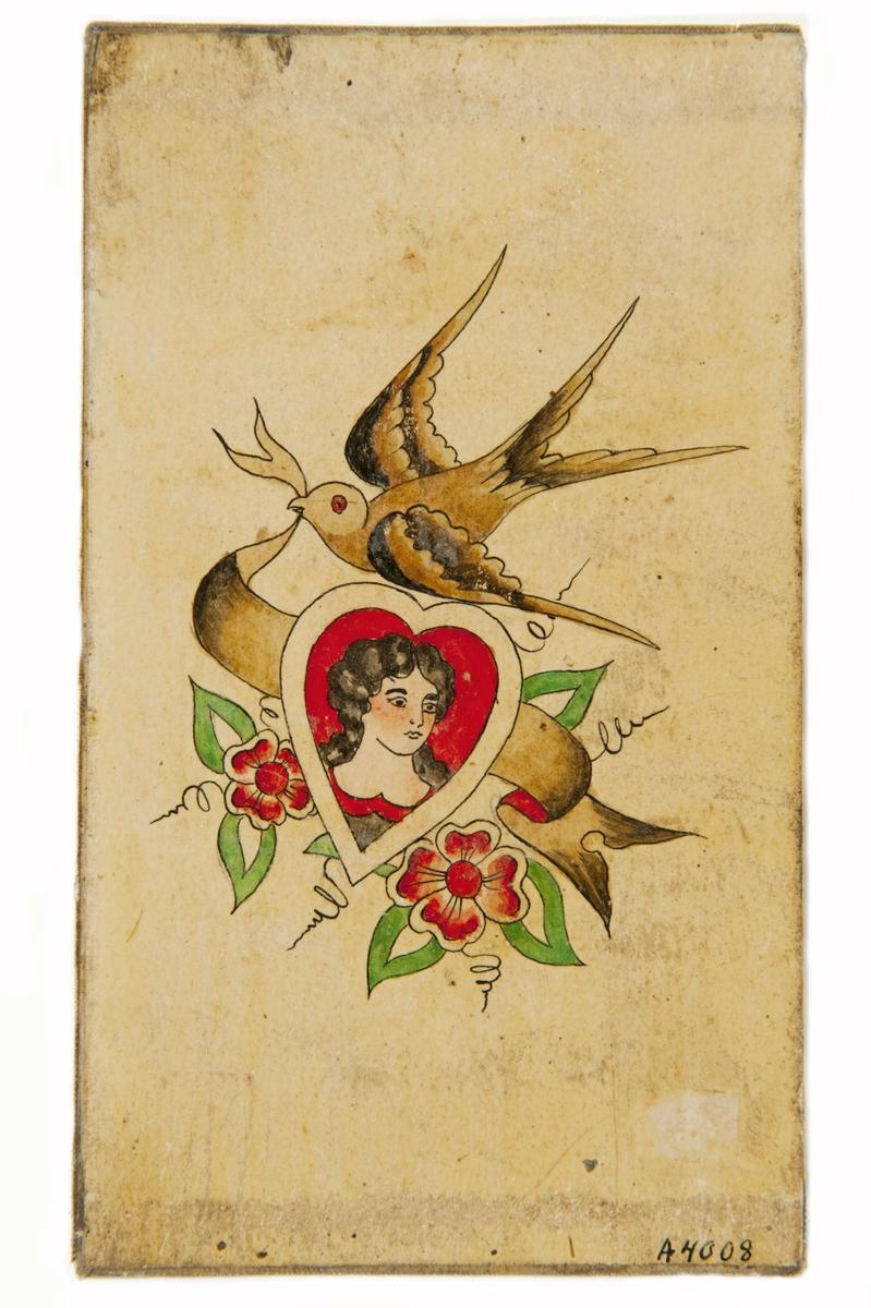 """Tatueringsförlaga. Kvinnoporträtt inramat av ett hjärta, omgivet av blommor och en fågel.  """"Svalan är ett klassiskt sjömansmotiv. Ofta kallas svalan för """"Blue bird"""" och är blå. Enligt vissa källor kan svalan betyda att sjömannen gått över ekvatorn eller seglat ett visst antal sjömil, men det finns även många andra tolkningar. I den här bilden finns även en koppling till en brevduva. Svalan kommer och möter sjömannen med en banderoll i näbben, möjligen ett kärleksbud. I det här fallet är kvinnobilden en arketyp av en trogen fästmö som kanske väntar i land.""""  Text från appen """"Tatuera dig med Sjöhistoriska"""" som gjordes i samband med utställningen Tro, hopp och kärlek 2012."""