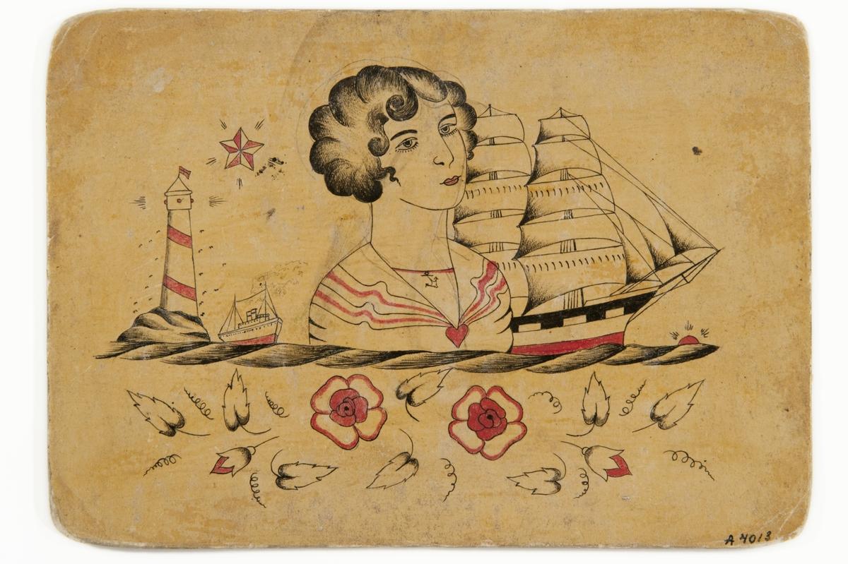 Tatueringsförlaga. I mitten ett porträtt av en kvinna randig sjal med ett hjärtformat spänne. Till vänster ett fyrtorn, ett ångfartyg och en stjärna. Till höger ett segelfartyg och en sol. Underst två röda blommor, blad m.m.