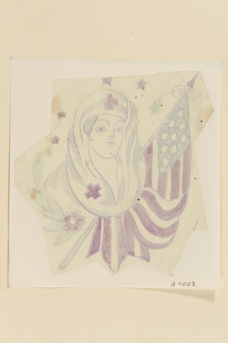 Tatueringsförlaga. Porträtt av en sjuksköterska med sjal. Ovanför hennes huvud fyra stjärnor, till vänster en blomma och till höger en amerikansk flagga.