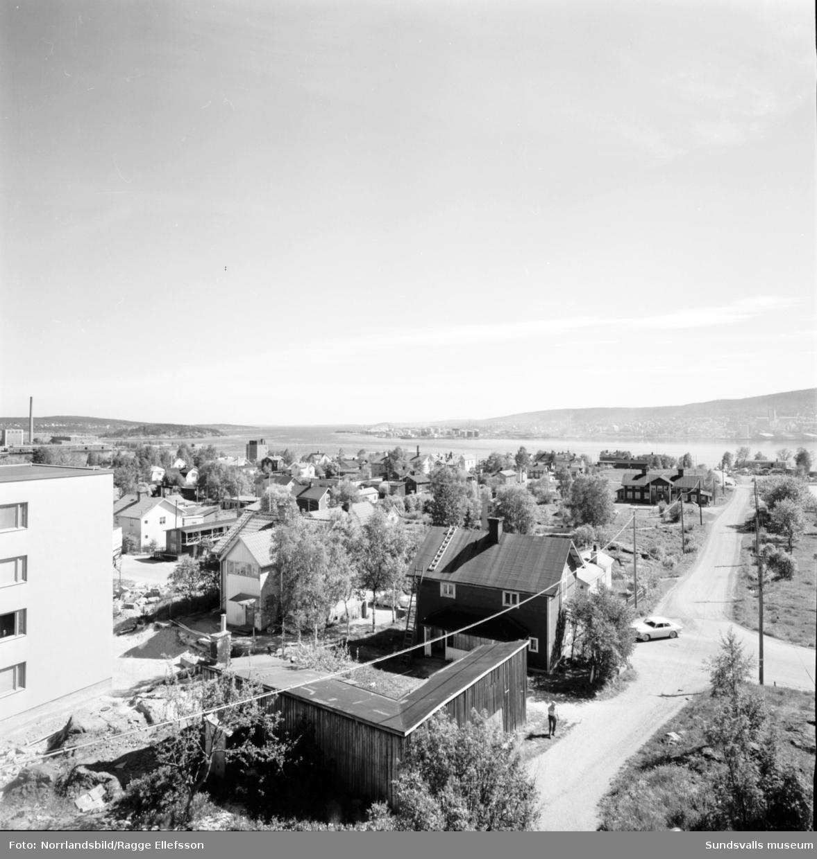 Nybyggnation av flerfamiljshus i Skönsberg. Vasagatan, Skönsbergsvägen, Gillegränd, Gilleberget.