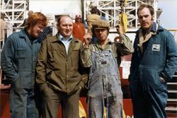 Ombord på dykkerfartøyet Arctic Seal i 1977. Ulf(?),Kjell, .