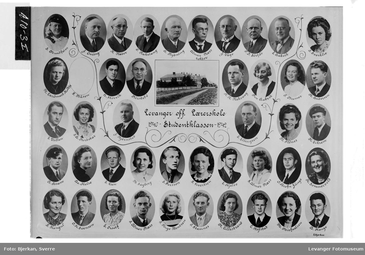 Levanger off. Lærerskole. Studentklassen, 1940-42.