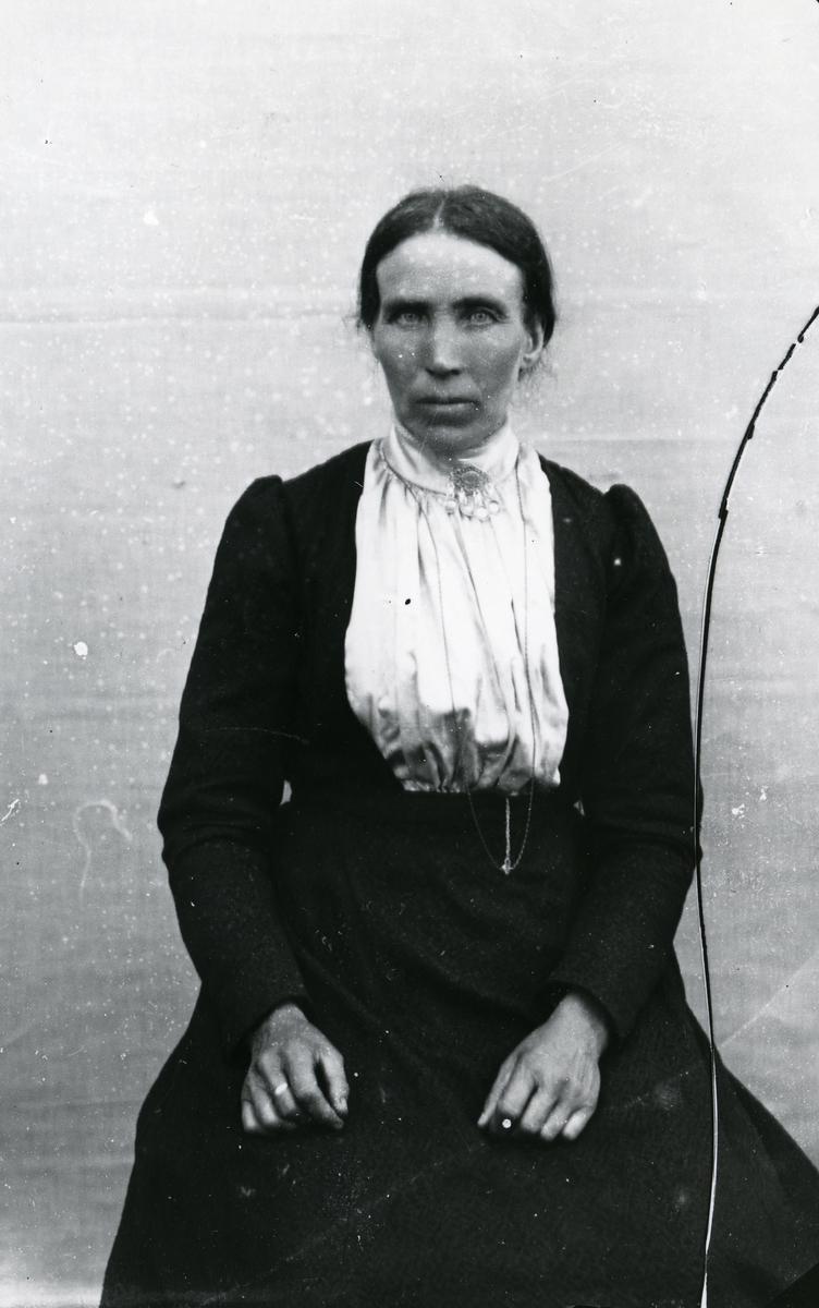 Kvinne kledd i mørk kjole og lys bluse, med sølje. I halvfigur, sittende foran lerret